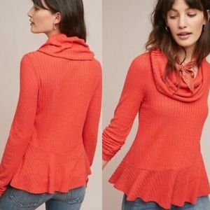 MAEVE   Anthro Coral Winterscape Cowl Neck Sweater